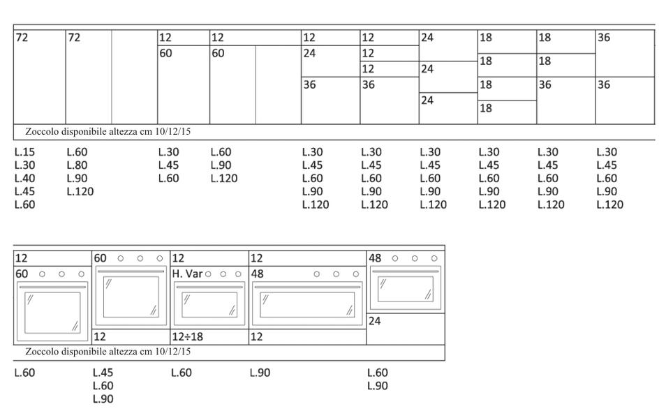 Moduli e misure cucine for Maggiordomi piani di dispensa piani